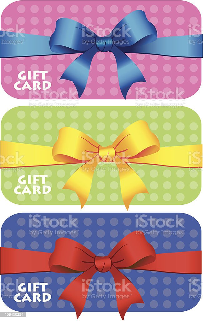 Colorful gift cards with ribbons. royalty-free stock vector art