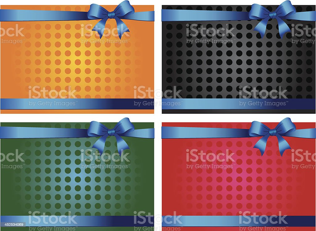 Colorful gift cards with ribbons royalty-free stock vector art