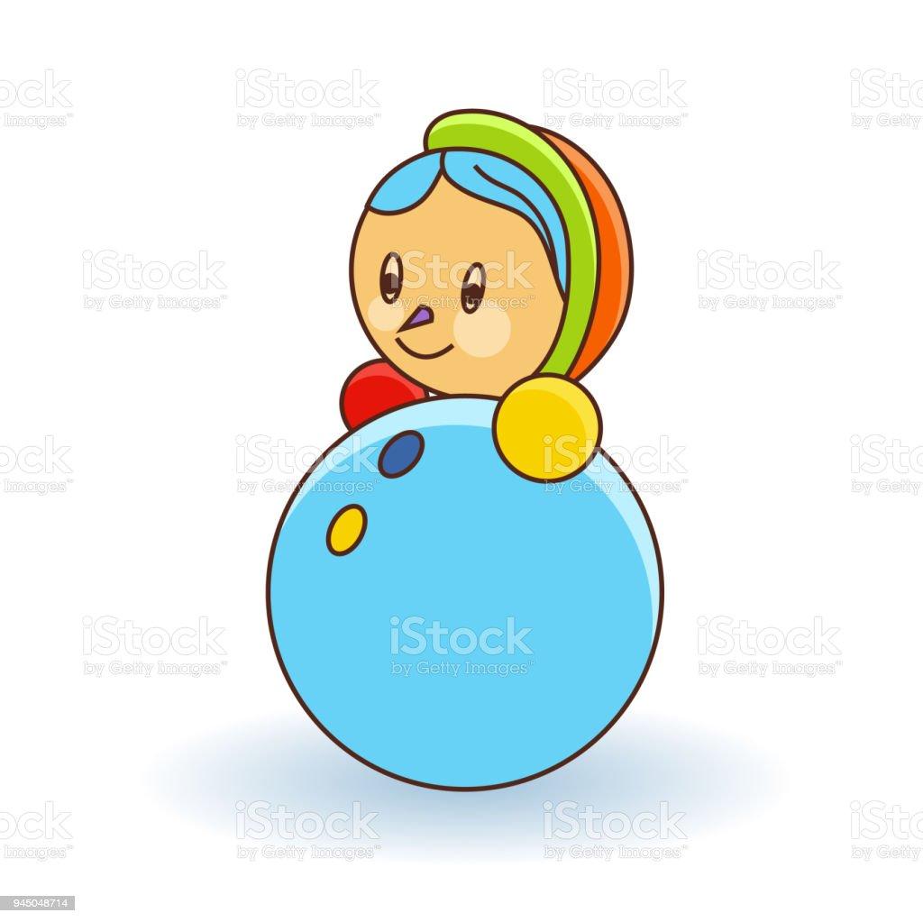 Colorful girl doll toy on white background - ilustração de arte vetorial