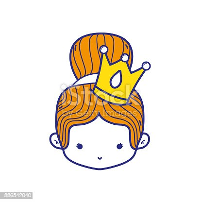 Colorful Girl Head With Crown And Bun Hair Stock Vector Art More