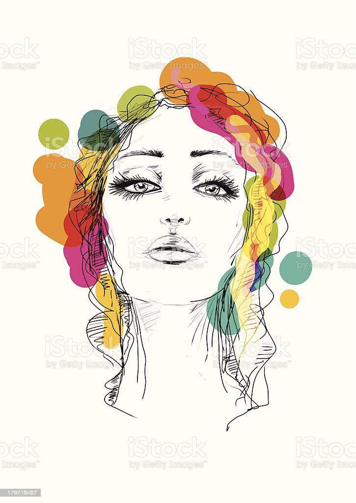 colorful girl vector art illustration
