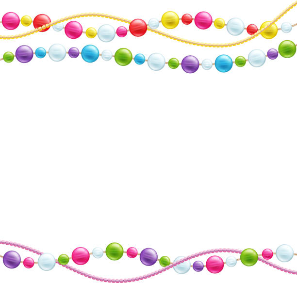 colorful glass beads decoration background. - bead stock illustrations, clip art, cartoons, & icons