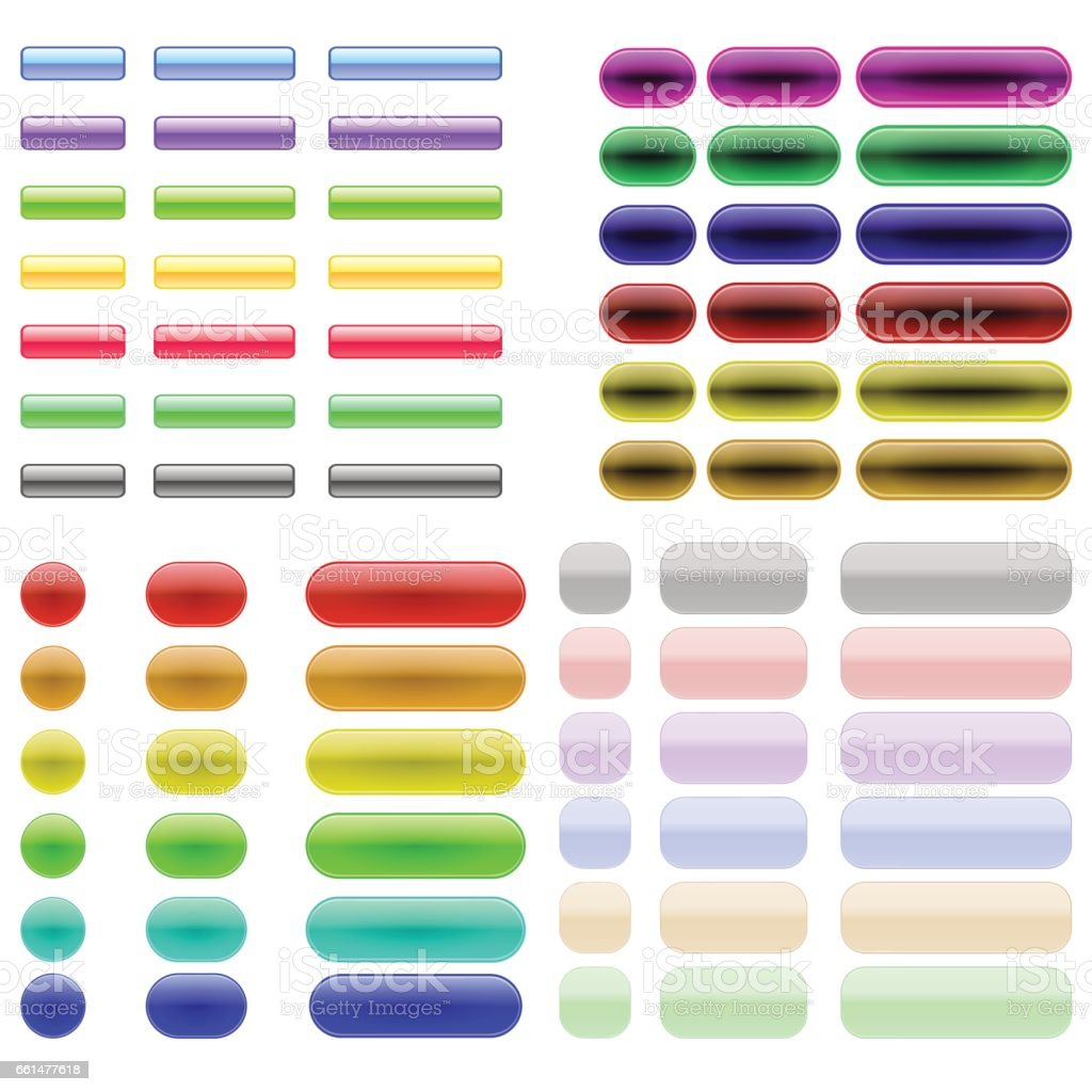 Colorful Glass Buttons vector art illustration