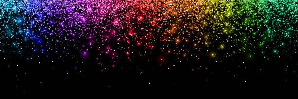 colorful glittering confetti, wide horizontal orientation. vector - rainbow glitter background stock illustrations