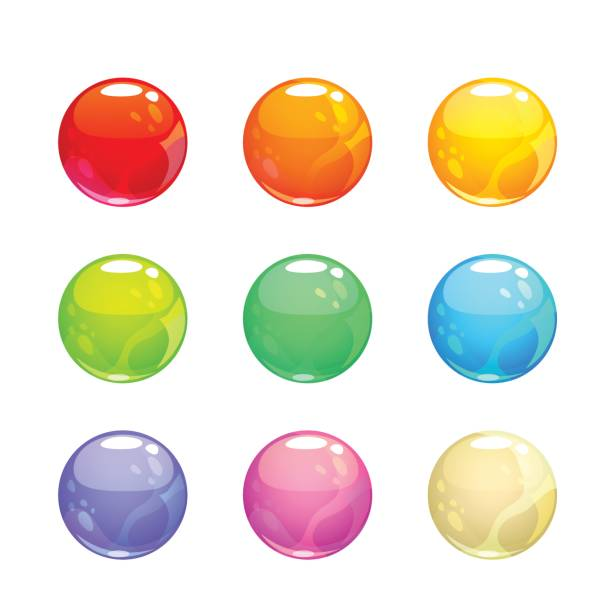 Colorful glossy bubbles set Colorful glossy bubbles set. Vector round elements for web or game design. jello stock illustrations
