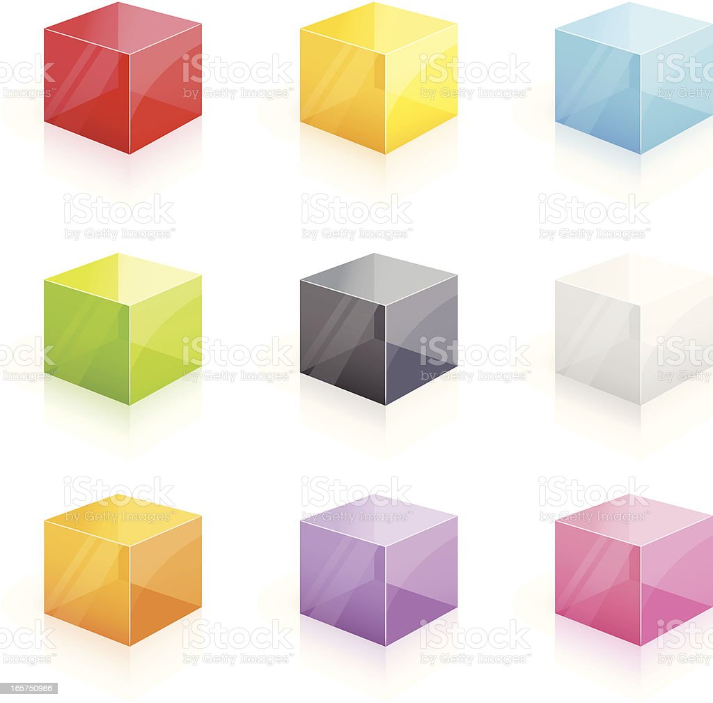 Colorful glossy transparent cubes - 3D series vector art illustration