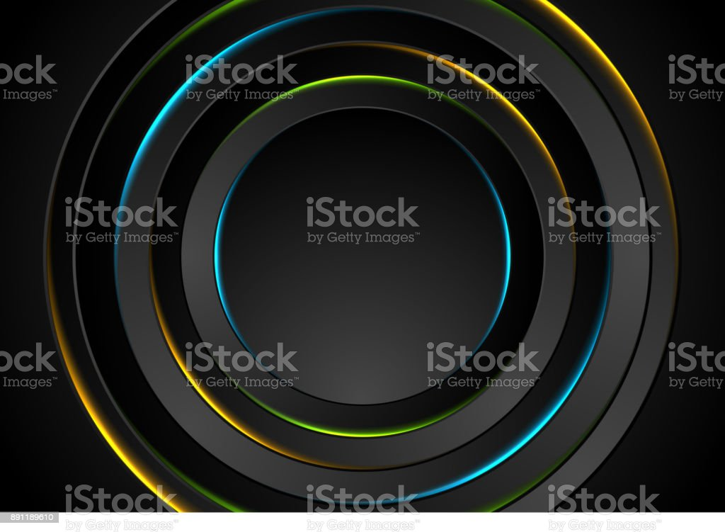 Colorful glow neon circles abstract background vector art illustration