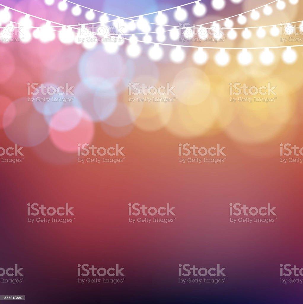 Fond lumineux coloré de lumières de Noël - Illustration vectorielle