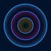 Colorful glowing concentric circles of dots. Abstract vector background.