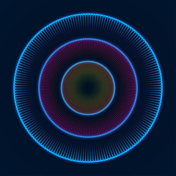 bunt leuchtende konzentrischen kreisen von punkten. abstraktes vektor hintergrund - edm stock-grafiken, -clipart, -cartoons und -symbole
