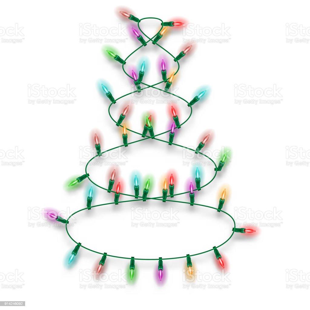 36607e5b70a Brillantes luces de colores quema en guirnalda eléctrica en forma de árbol  de Navidad para diseño