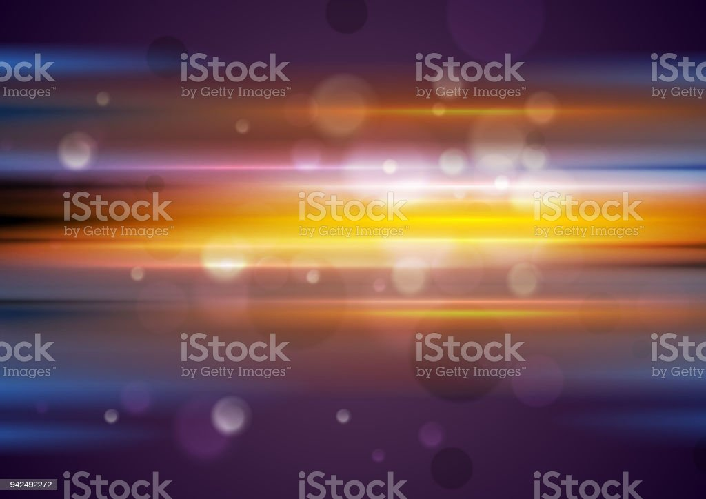 Colorful glowing stripes and bokeh light particles background vector art illustration