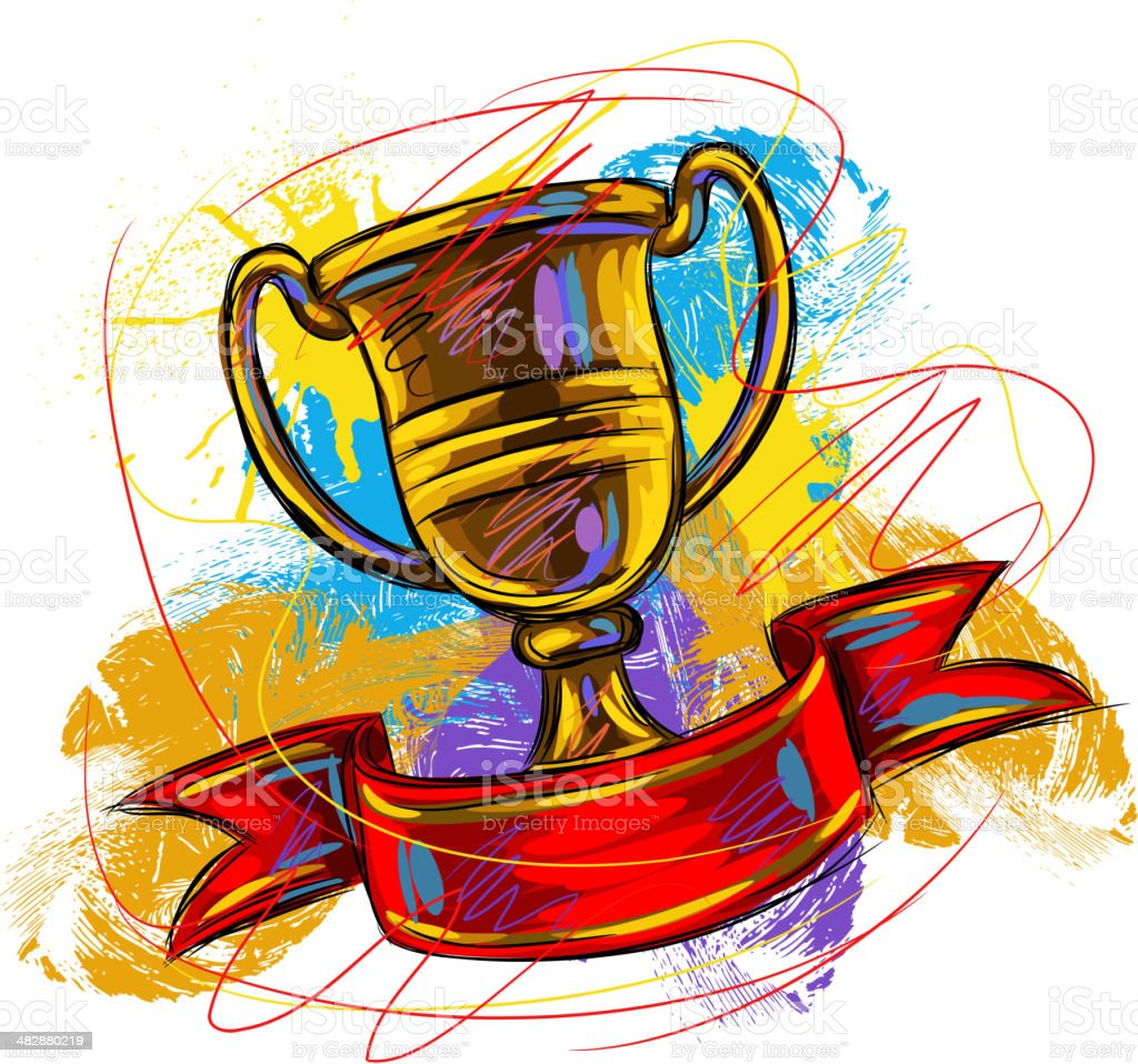 Colorful Golden Trophy royalty-free stock vector art