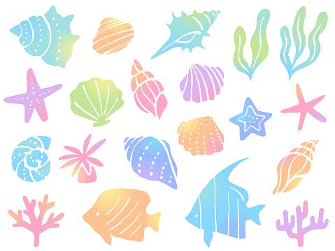 Colorful gradient illustration set of sea creatures