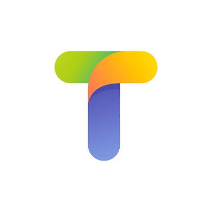 Colorful gradient T letter initial logo.