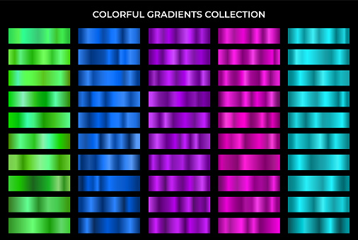 Colorful gradients collection. Green, blue, violet, purple and turquoise texture gradation backgrounds vector set. Shiny and bright gradient collection for gradient button, frame, ribbon and label.