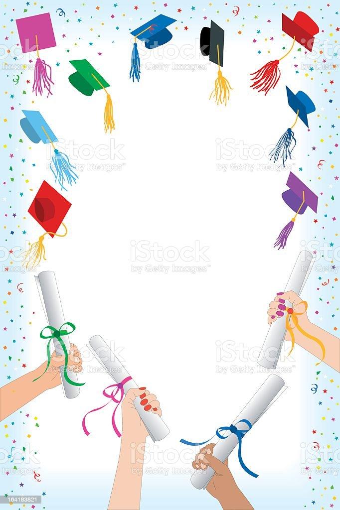 colorful graduation cap and diploma border stock