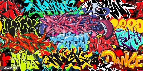 istock Colorful Graffiti Street Art Seamless Pattern. Vector Illustration Background Art 1260214783