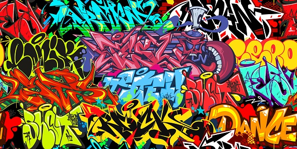 Colorful Graffiti Street Art Seamless Pattern. Vector Illustration Background
