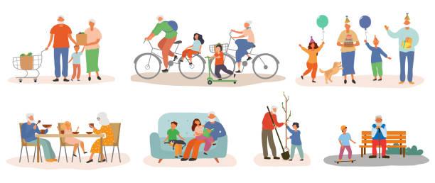 illustrazioni stock, clip art, cartoni animati e icone di tendenza di colorful grandparents collection with grandkids - nonna e nipote camminare