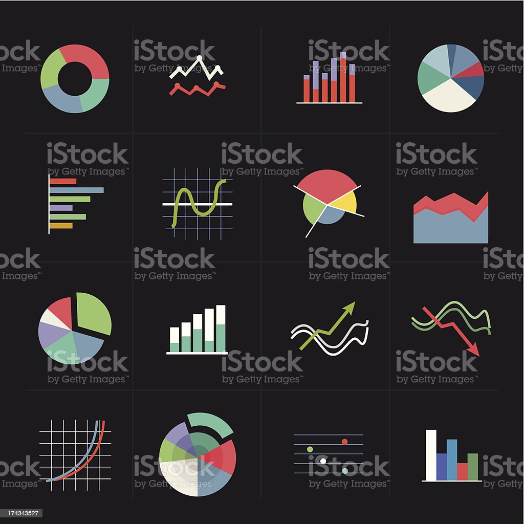 Colorful graph icons on dark background royalty-free stock vector art
