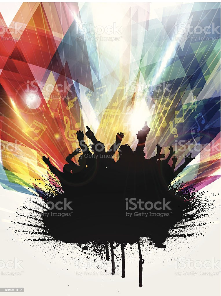 Colorful graphic of grunge party people in black paint vector art illustration