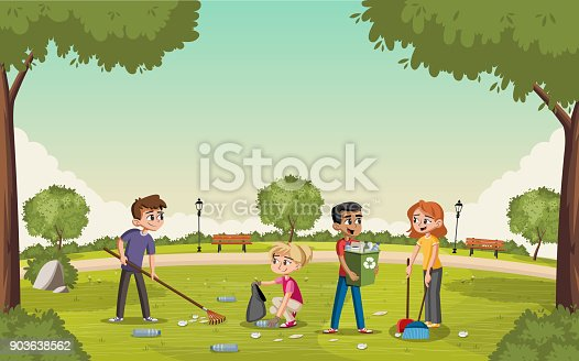 Colorful Green Park With Teenagers Cleaning Trash People