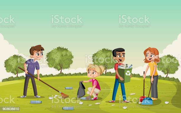 Colorful Green Park With Teenagers Cleaning Trash People Recycling Stock Illustration - Download Image Now