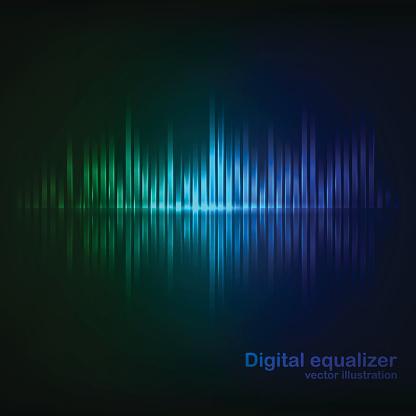 Colorful green-blue digital shining equalizer