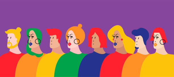 Colorful group of people vector illustration vector art illustration