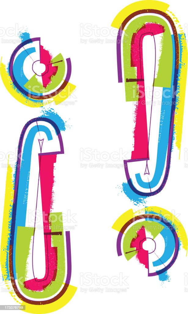 Colorful grunge Exclamation Mark royalty-free colorful grunge exclamation mark stock vector art & more images of alertness