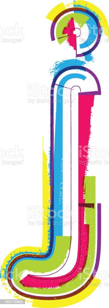 Colorful grunge font. Letter j royalty-free stock vector art