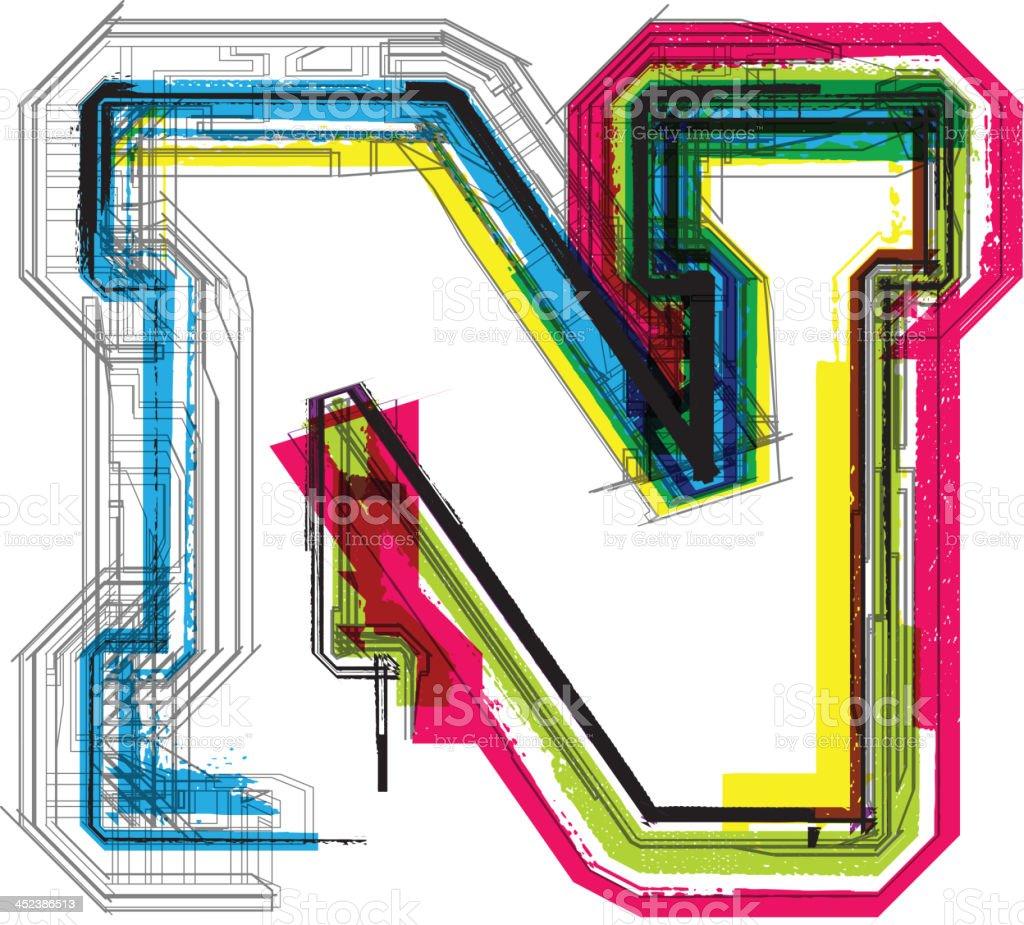Colorful grunge font. Letter N royalty-free colorful grunge font letter n stock vector art & more images of alphabet