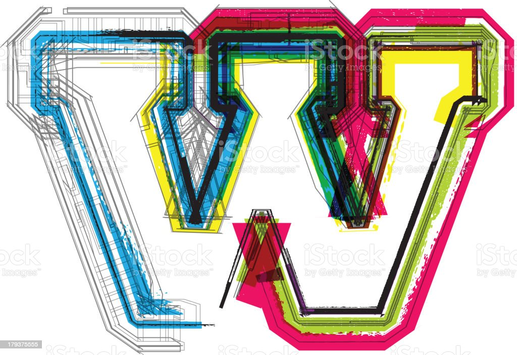 Colorful grunge font. Letter W royalty-free stock vector art