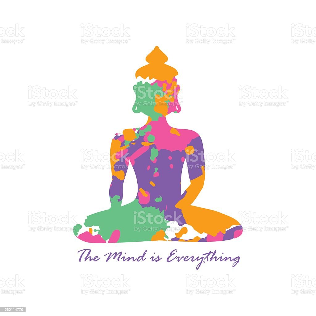Colorful Grunge Isolated Buddha Silhouette. vector art illustration