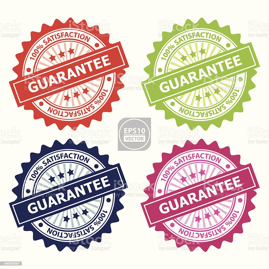 Colorful Guarantee Sign or Rubber Stamp. vector art illustration