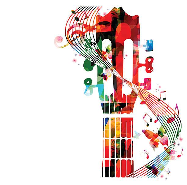 gitara podstrunnica z kolorowe motyle - harmonia instrument stock illustrations