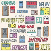 Colorful guitar pedals. Hand drawn. Vector illustration.