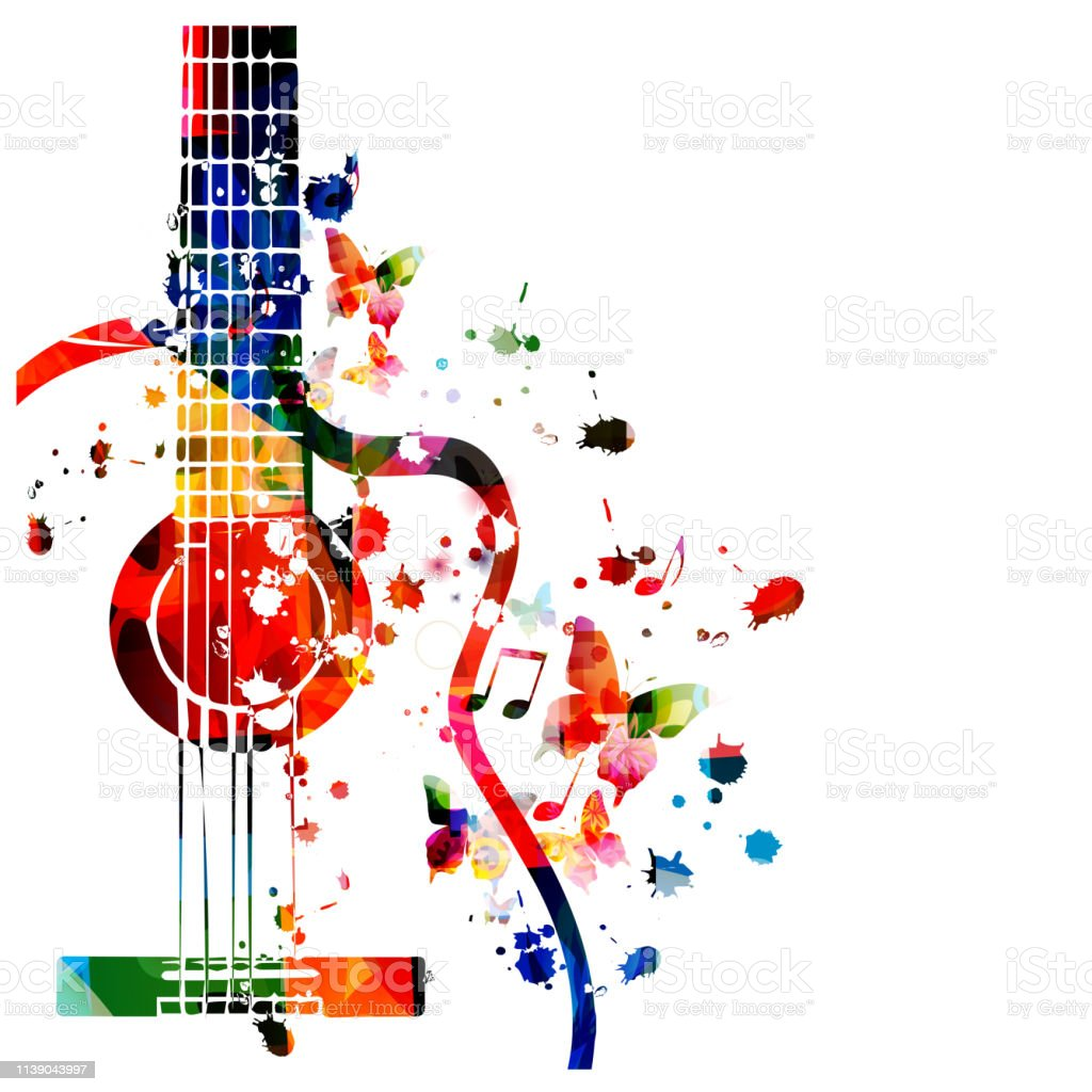 Colorful guitar with music notes isolated vector illustration design....