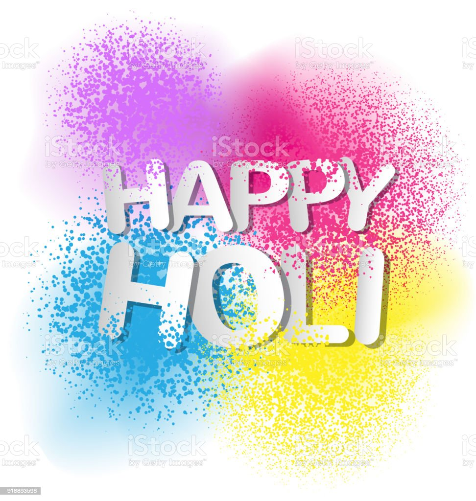 Colorful Gulal For Happy Holi Invitation And Greeting Card