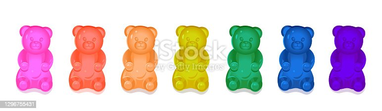 Colorful gummy bears for kids. Vector cartoon illustration