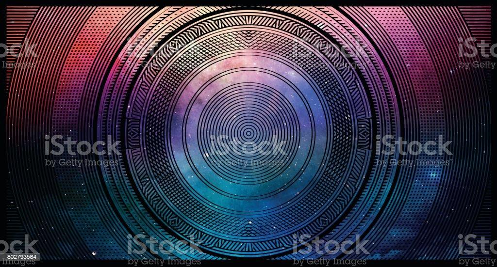 Bunte Halbton Muster Hintergrund mit Raum und Sternen – Vektorgrafik