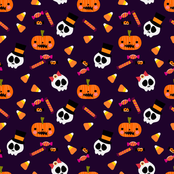 colorful halloween candy and skull seamless pattern. - halloween candy stock illustrations