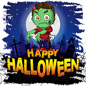 Colorful halloween cartoon greeting card with scary zombies. Vector illustration.