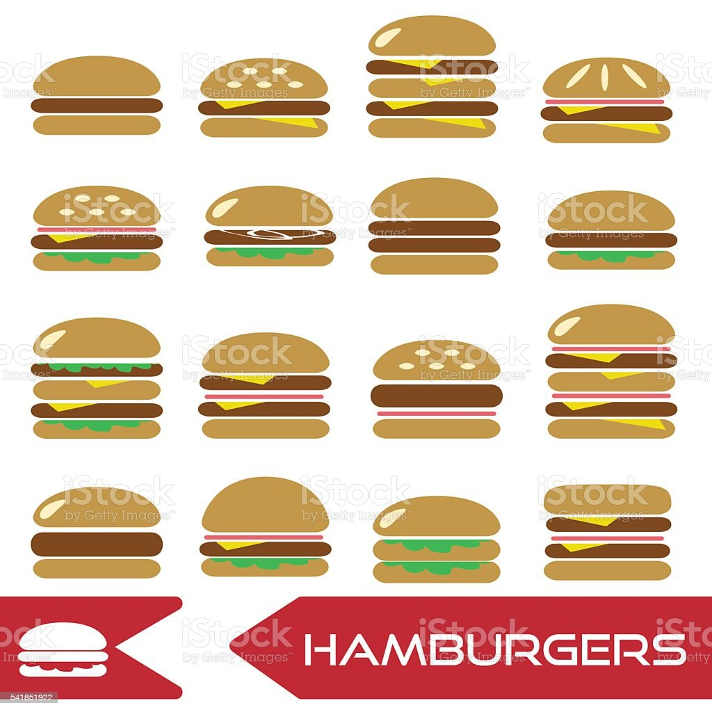 colorful hamburgers types fast food modern simple icons eps10 vector art illustration