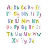 Colorful hand drawn alphabet with lowercase and uppercase letters. Bright ABC poster for kids. Vector illustration