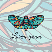 Colorful hand drawn butterfly. Doodle style logo. Excellent for t-shirt design or tattoo.