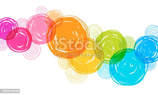 Fun, multi colored background with hand drawn circles on white background. Rainbow colored doodles.