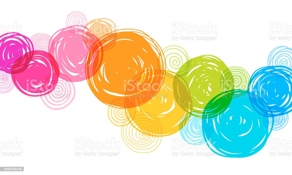 Colorful Hand Drawn Circles Background vector art illustration