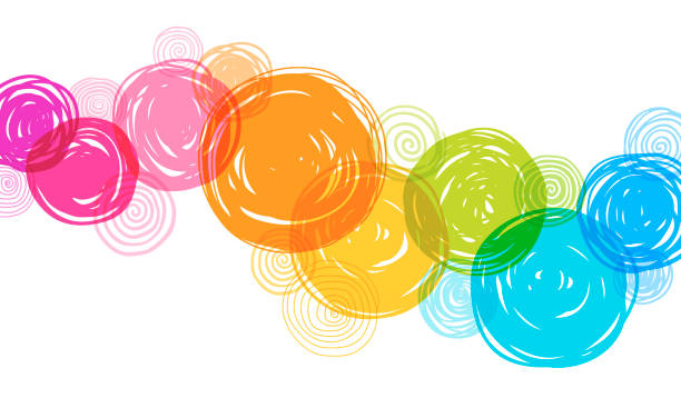 ilustrações de stock, clip art, desenhos animados e ícones de colorful hand drawn circles background - divertimento